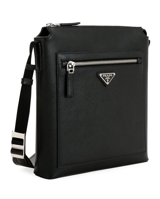 4deca6598d03 Lyst - Prada Men s Saffiano Leather Travel Crossbody Bag in Black