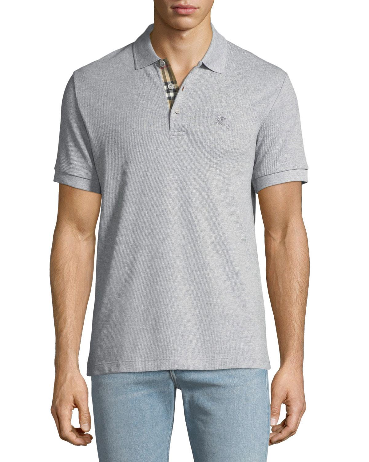 ce7628c5 Lyst - Burberry Men's Hartford Polo Shirt With Check Detail in Gray ...