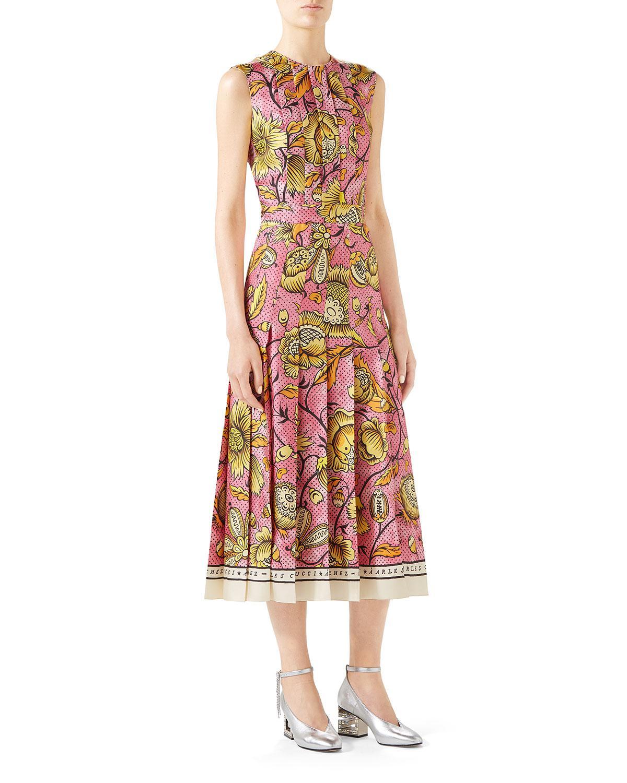 1bf02b741 Gucci Alsacienne Print Pleated Silk Twill Midi Dress in Pink - Save ...
