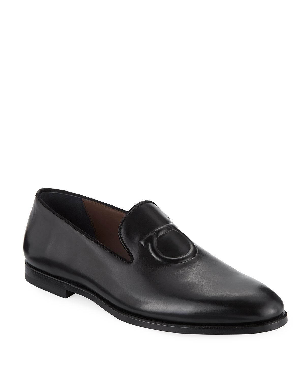 0dfb956d227d Lyst - Ferragamo Men s Bruxelles Gancini-embossed Leather Loafer in ...