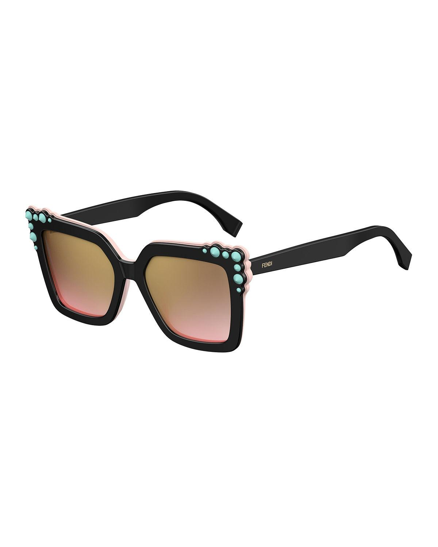 c01488eee533 Fendi - Black Can Eye Two-tone Studded Square Sunglasses - Lyst. View  fullscreen