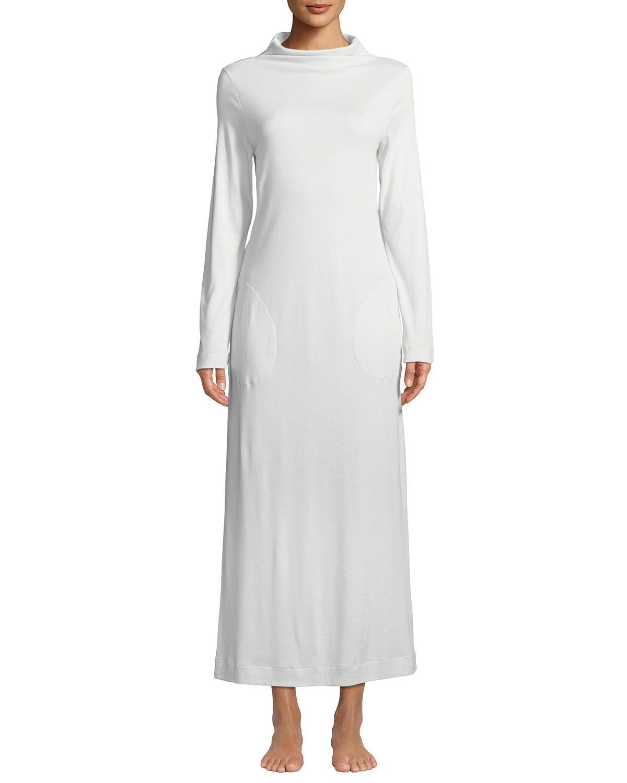 bc9e04b464 Lyst - Hanro Liara Long-sleeve Long Nightgown in Black