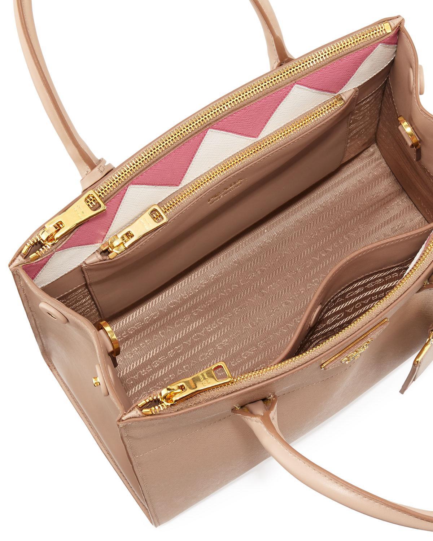 7d879abd0f0f Prada Medium Saffiano Greca Paradigm Tote Bag - Lyst