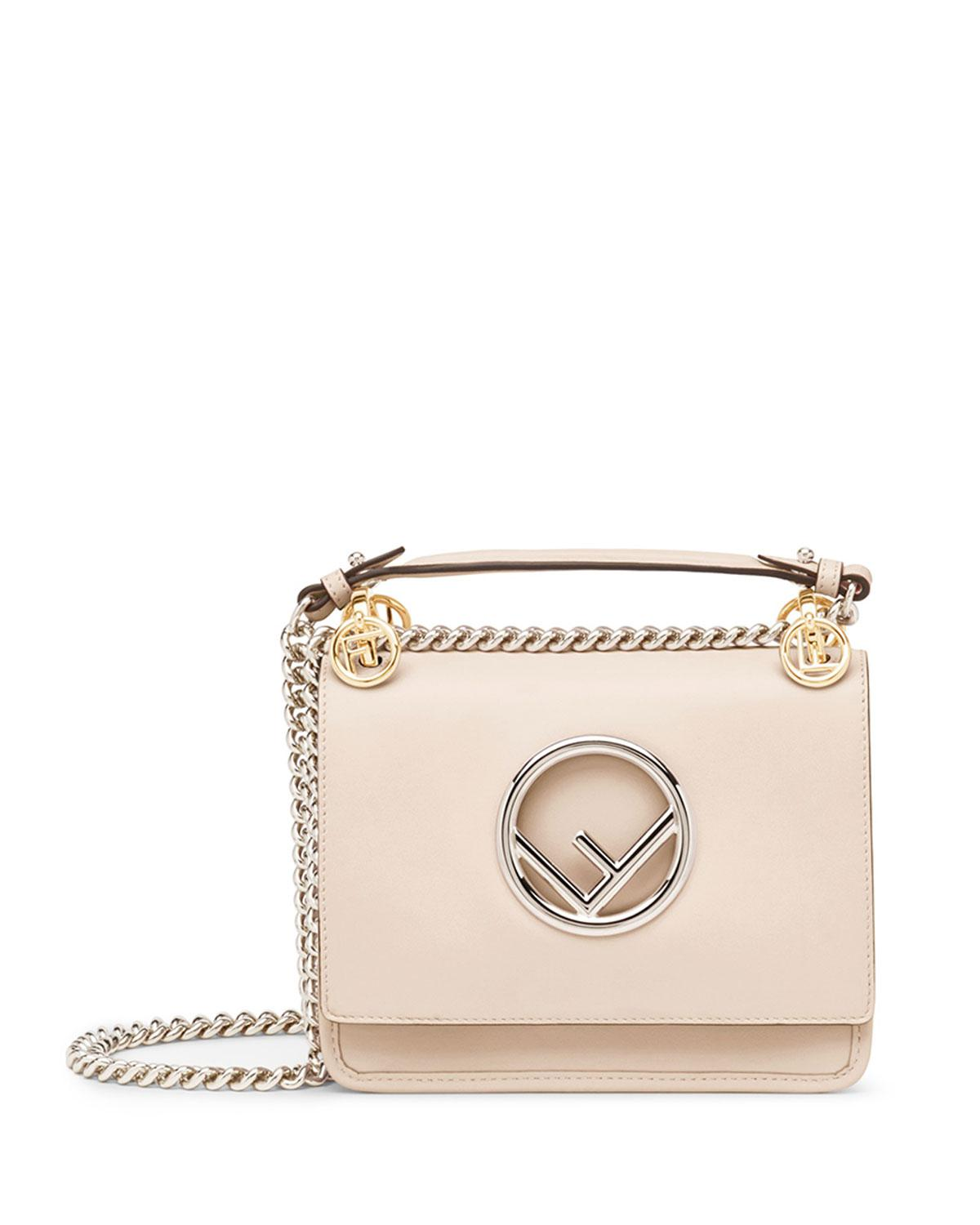 1c20710752c1 Lyst - Fendi Kan I Small Leather Shoulder Bag With Logo in Pink