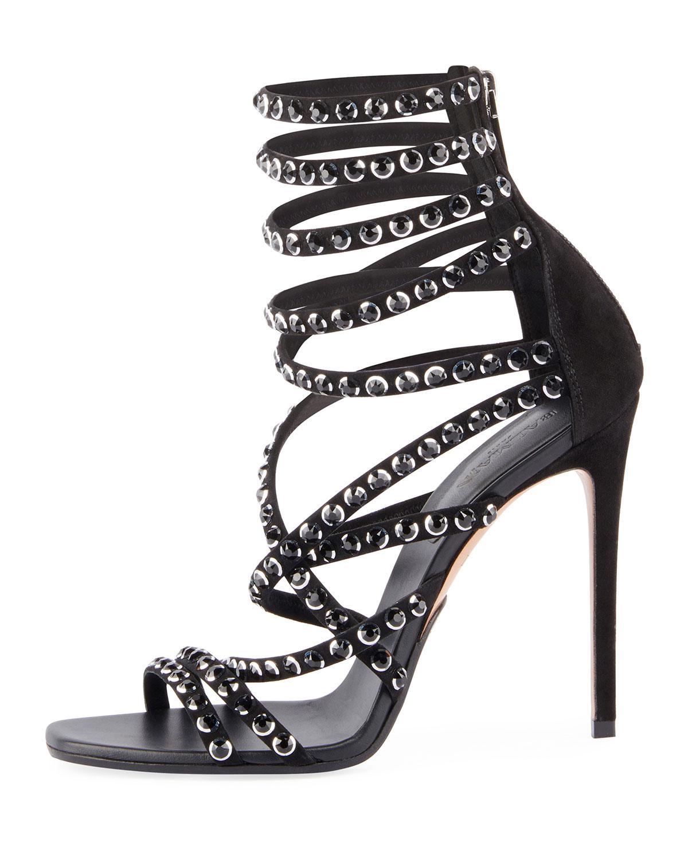 c8295944c9ec Lyst - Balmain Diva Crystal-embellished Strappy Sandal in Black