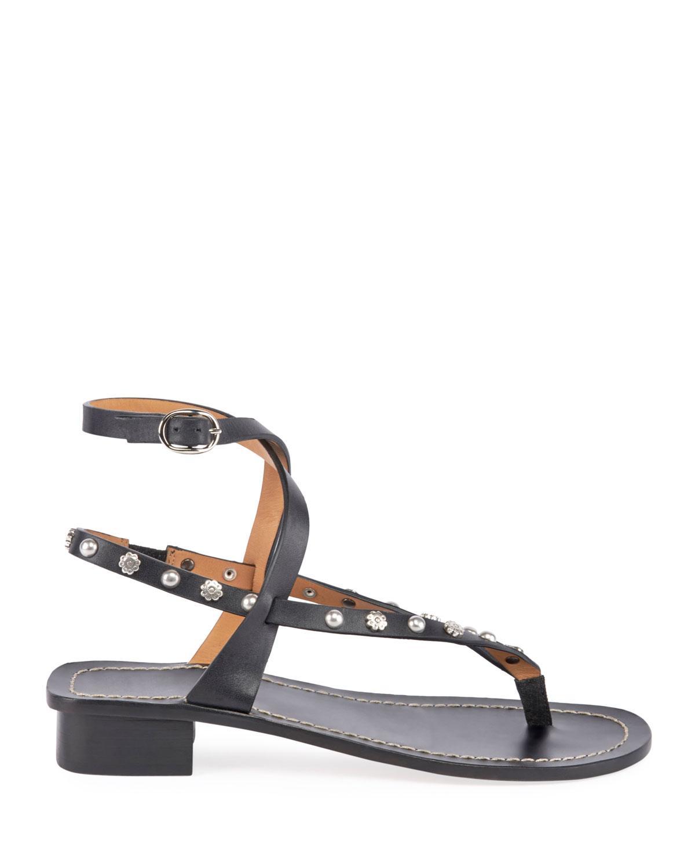 b1497a6efae Lyst - Isabel Marant Jings Studded T-strap Sandal in Black