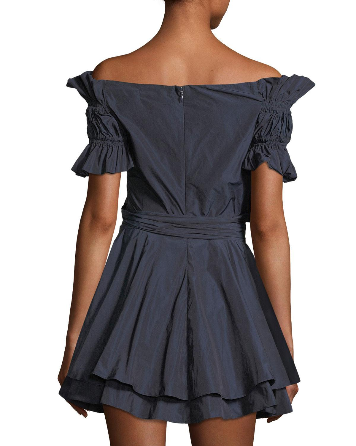 Lyst Jonathan Simkhai Off The Shoulder Ruched Taffeta Mini Wrap Dress In Blue