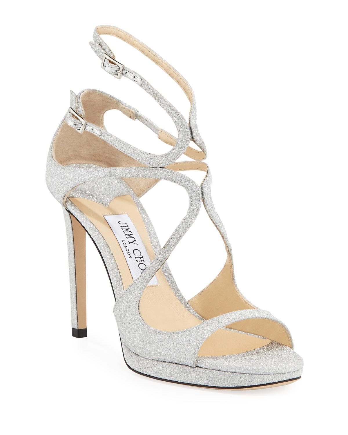 1de21da8a83a Lyst - Jimmy Choo Lance Glitter 100mm Platform Sandals in Metallic