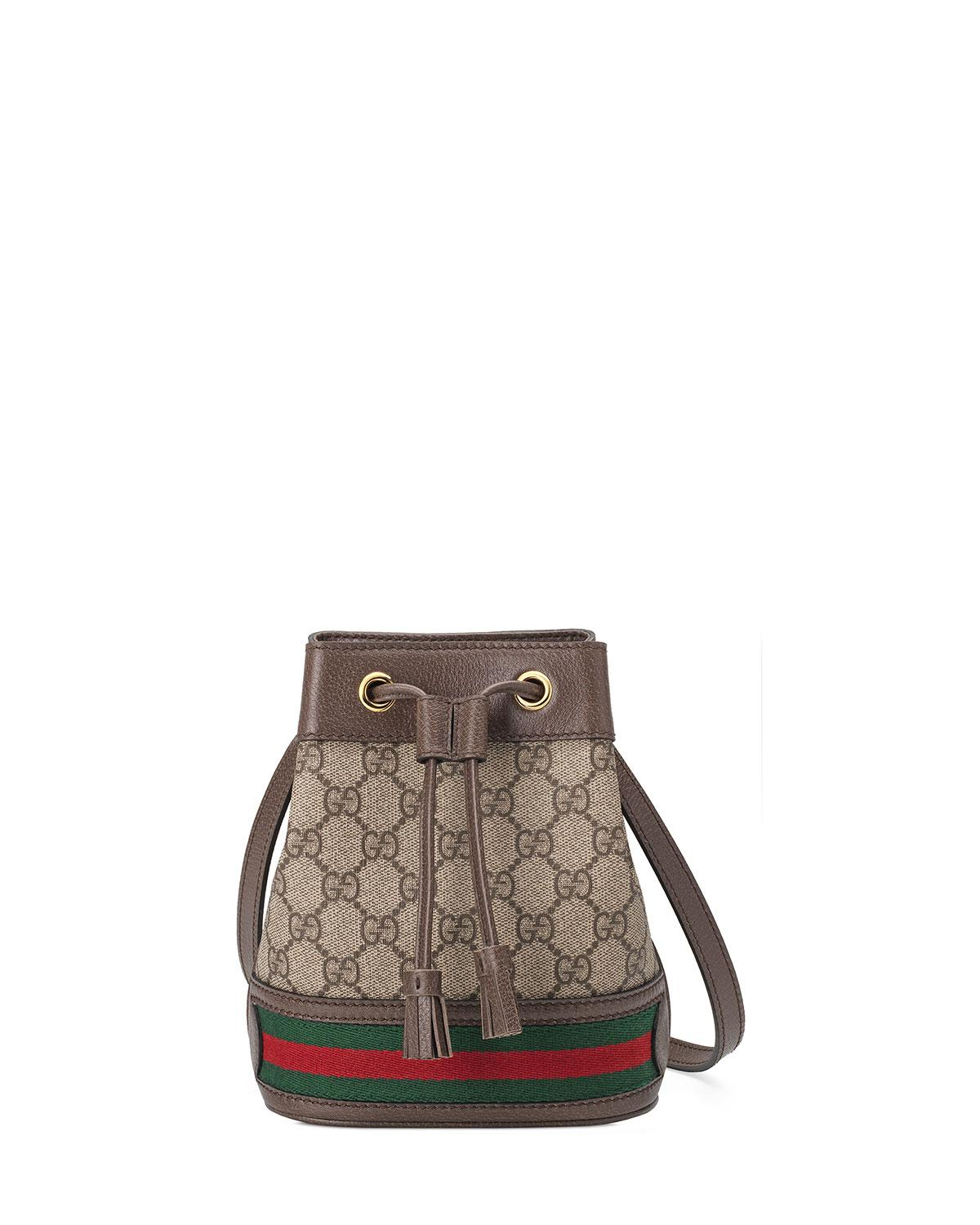 243be79d7c8b0e Gucci Ophidia Mini GG Supreme Canvas Bucket Bag in Natural - Lyst
