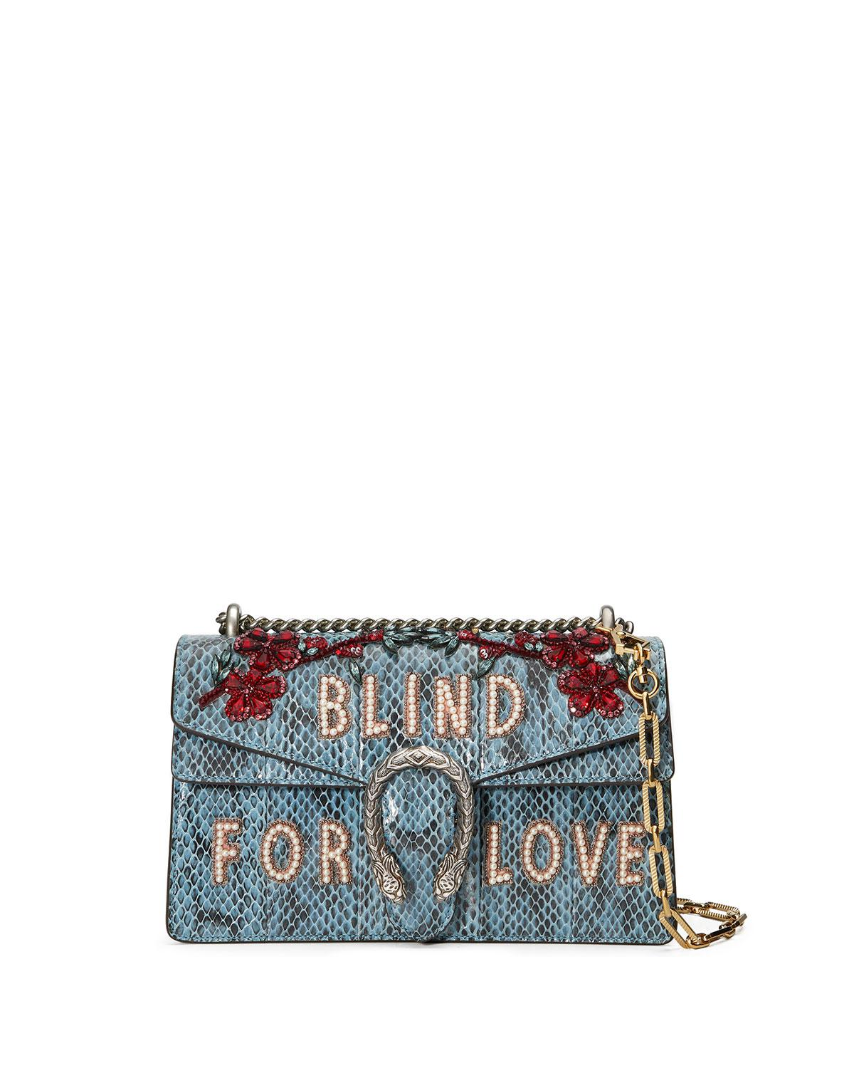 b35a3ce5b10d Gucci Dionysus Small Blind For Love Shoulder Bag in Blue - Lyst