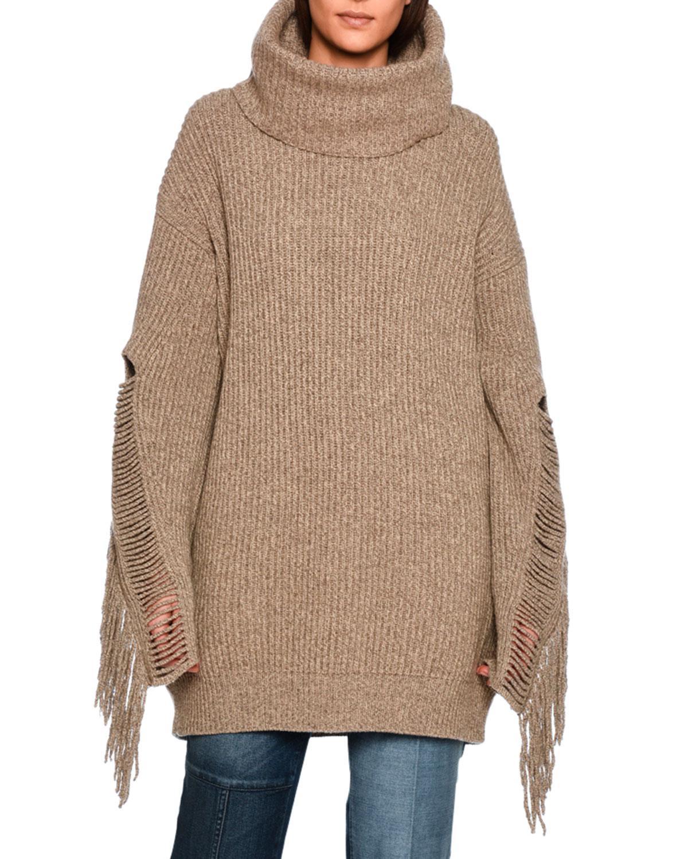 Stella mccartney Oversized Fringe-trim Turtleneck Sweater in Brown ...