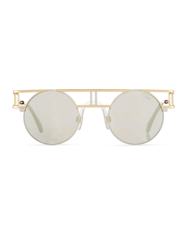a5490e50fbb9 Lyst - Cazal Men s Round Double-bar Metal Sunglasses in Metallic