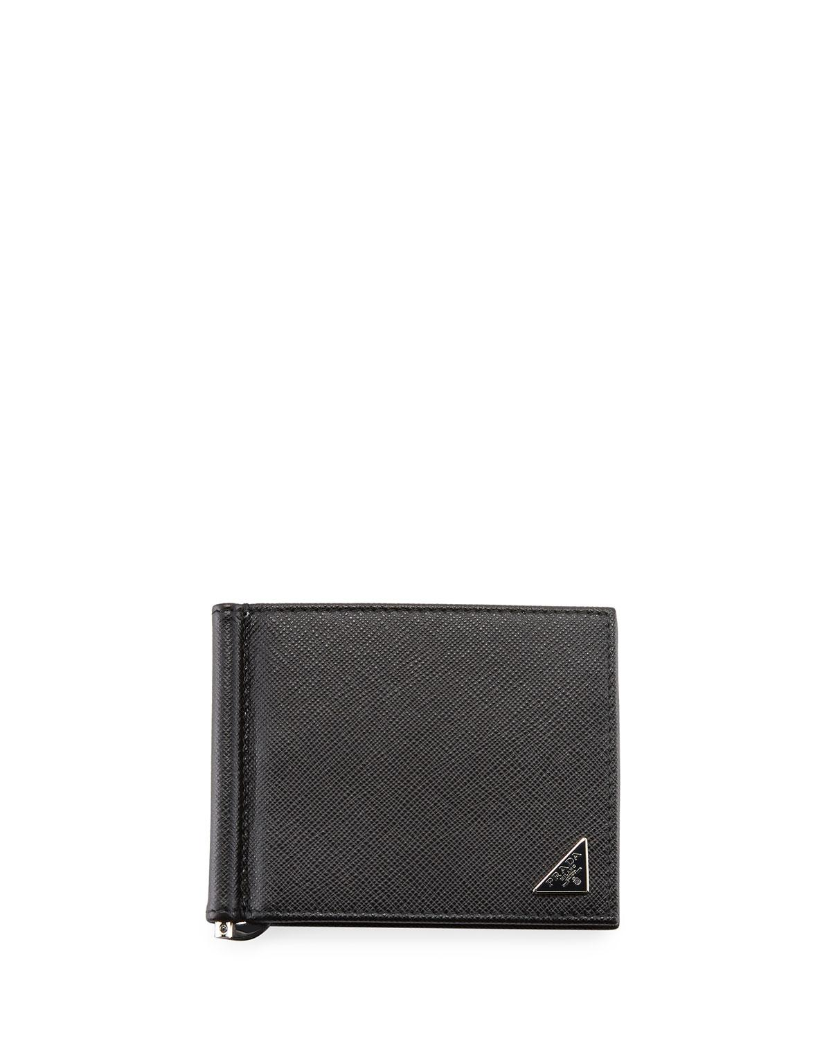 18c3bb20b270 Prada Saffiano Triangolo Wallet With Money Clip in Black for Men - Lyst