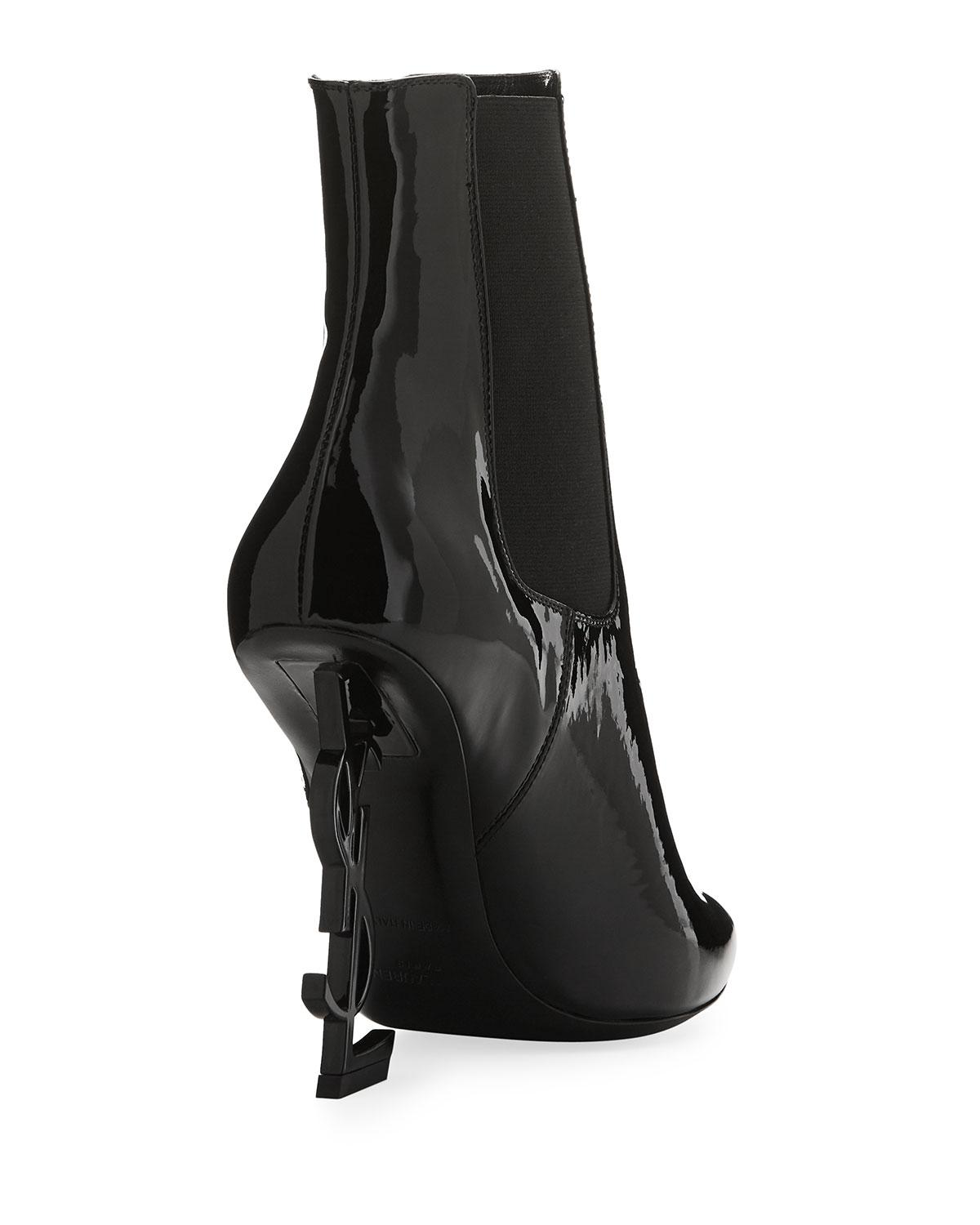 a9e7c702a1f Saint Laurent Opyum Patent Bootie With Monogram Heel in Black - Lyst