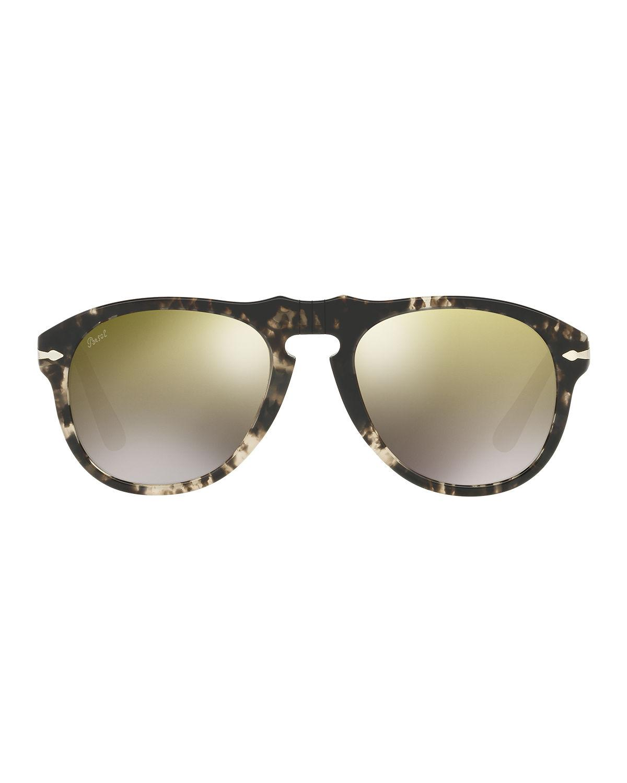c1480c067ebd Persol 649-series Mirrored Aviator Sunglasses in Black for Men - Lyst