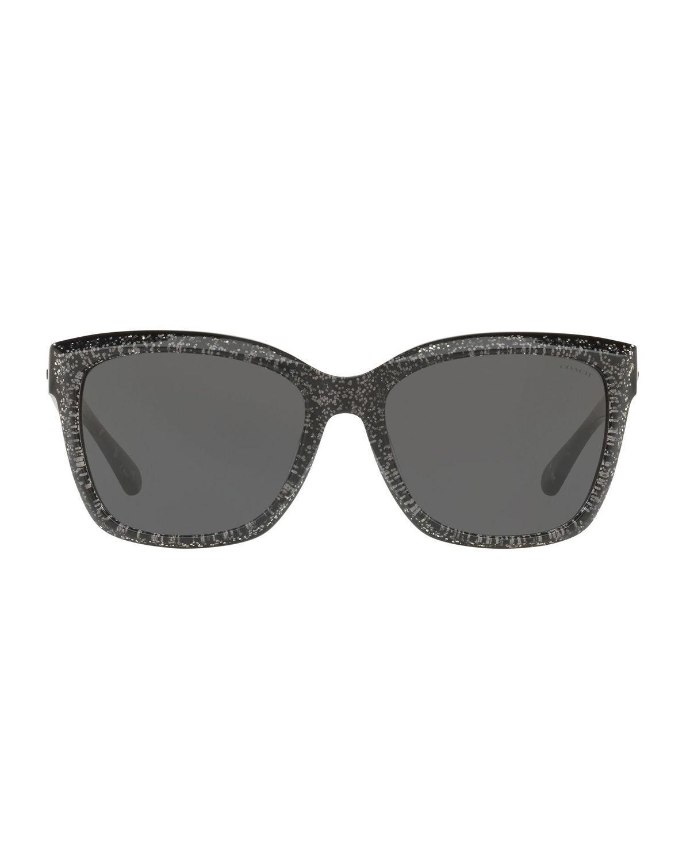 b62169addadd Lyst - COACH Square Glitter Acetate Sunglasses in Black