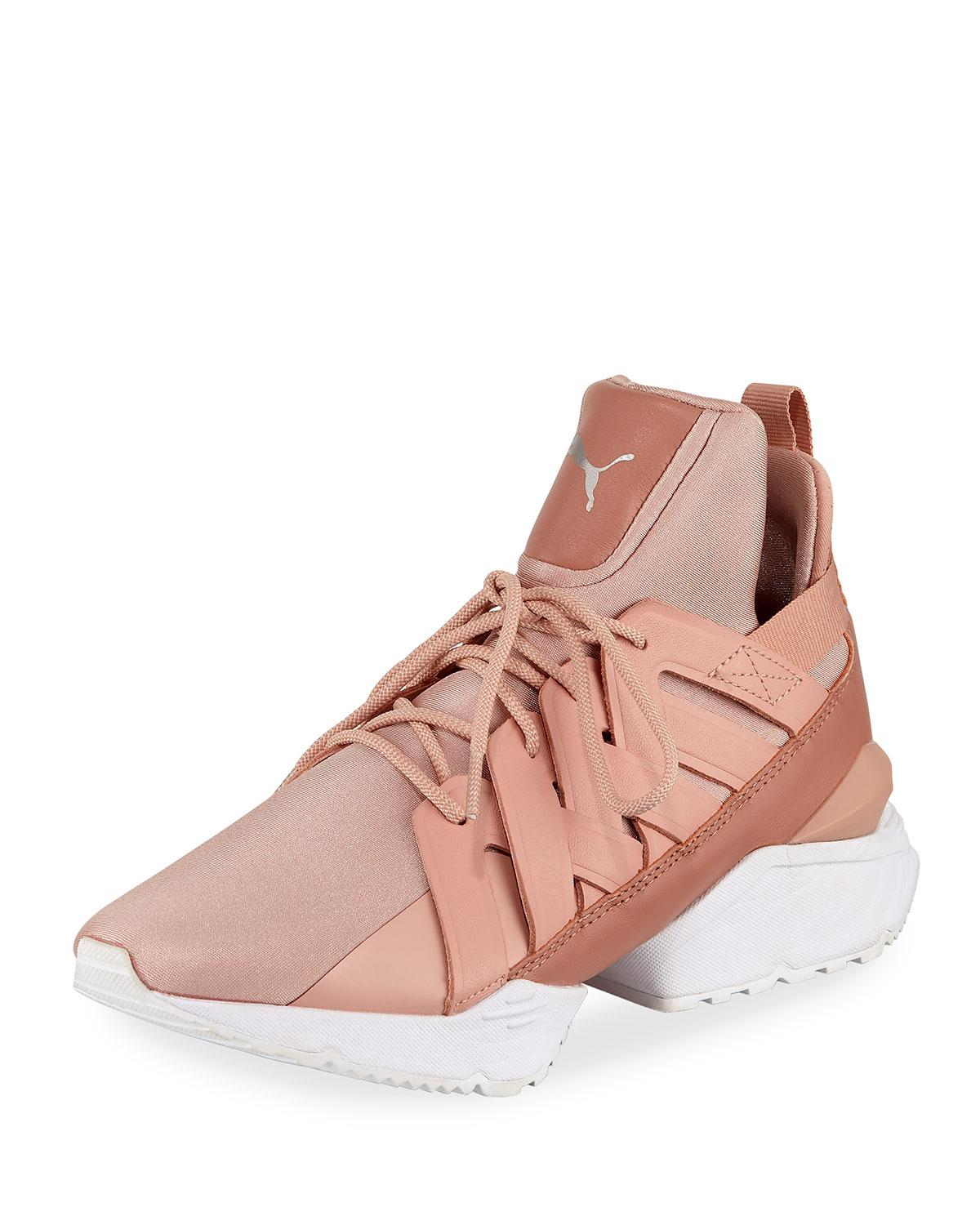 7a2f1d314f2 Lyst - PUMA Muse Echo Satin Sneakers in Pink