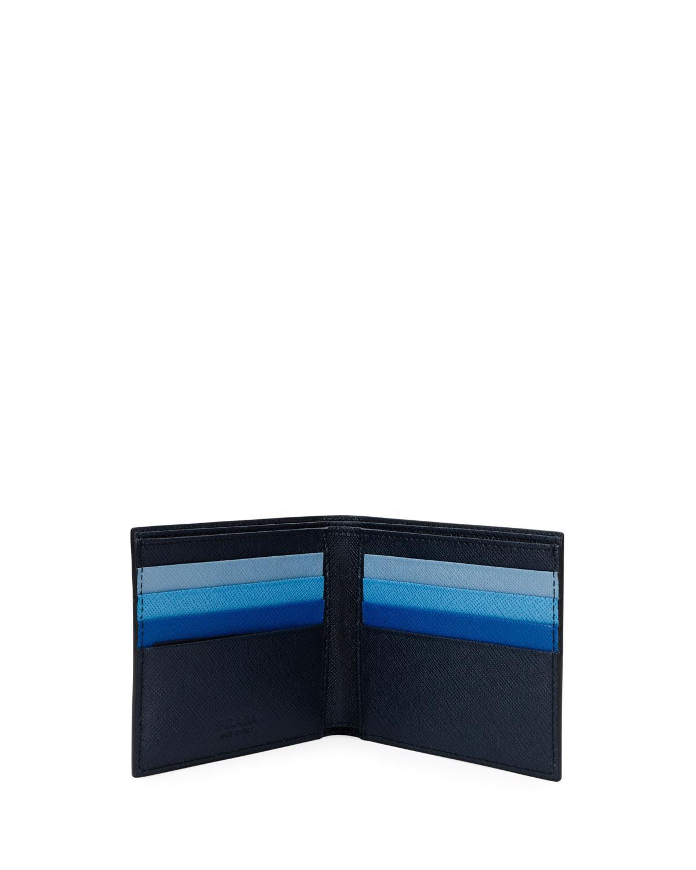 04cf87551213 Prada Men's Colorblock Saffiano Leather Double Billfold Wallet in Blue for  Men - Lyst