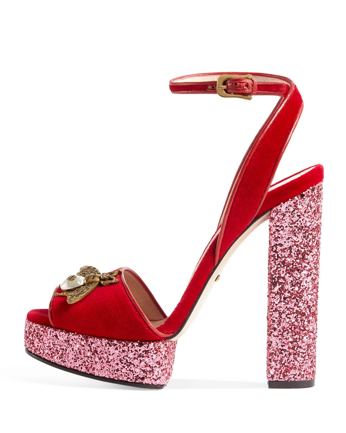 85a09be7314 Lyst - Gucci Soko Glittered Ankle-wrap Platform Sandal in Red