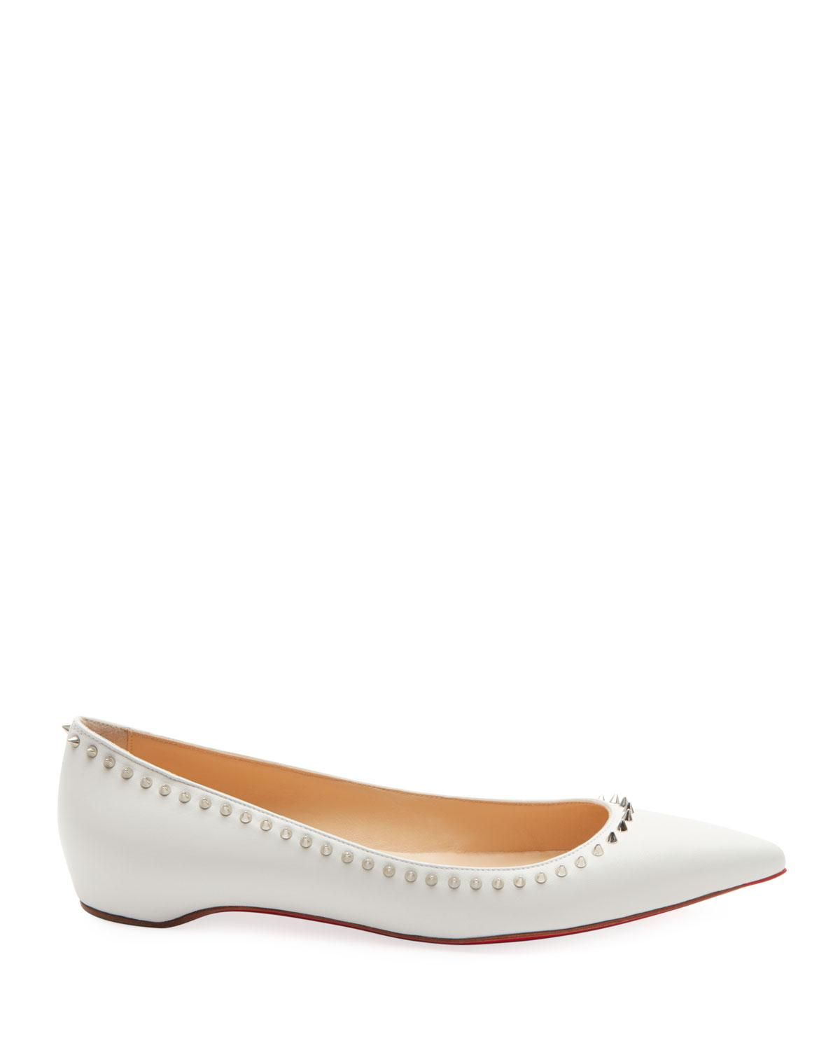 d15d4bba3078 Lyst - Christian Louboutin Anjalina Studded Red Sole Ballet Flats in White