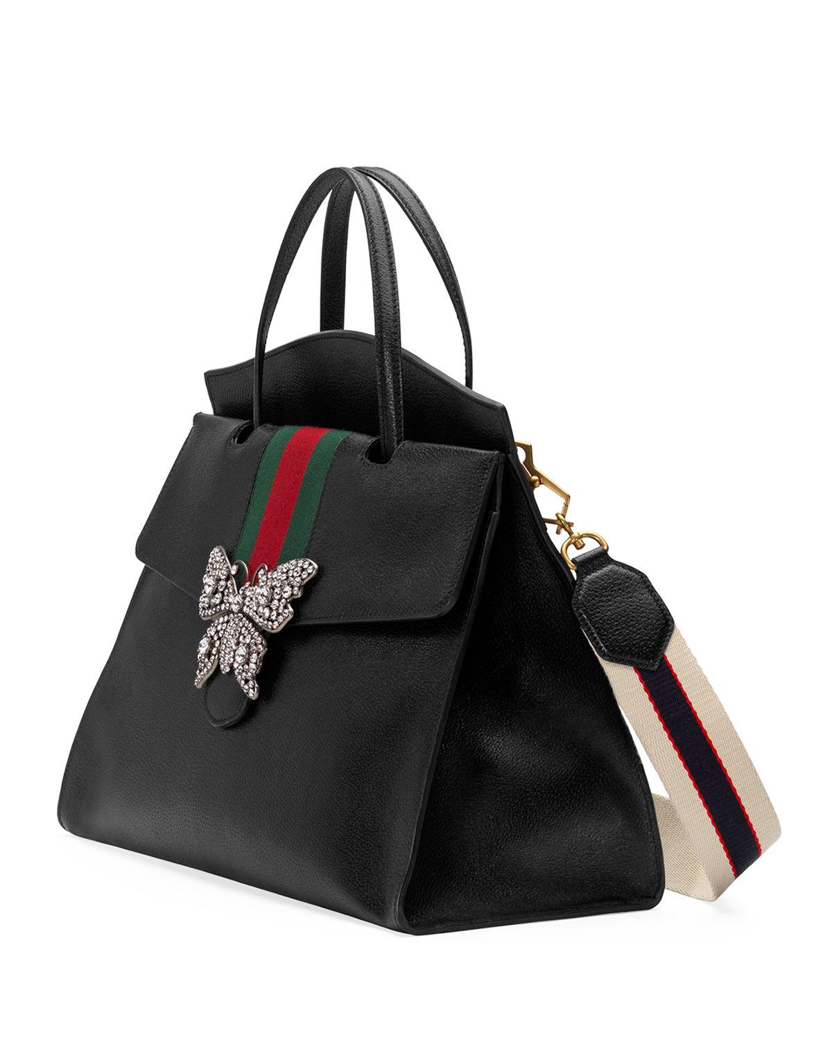 b60b2ee298520 Lyst - Gucci Linea Totem Large Leather Top-handle Bag With Butterfly ...