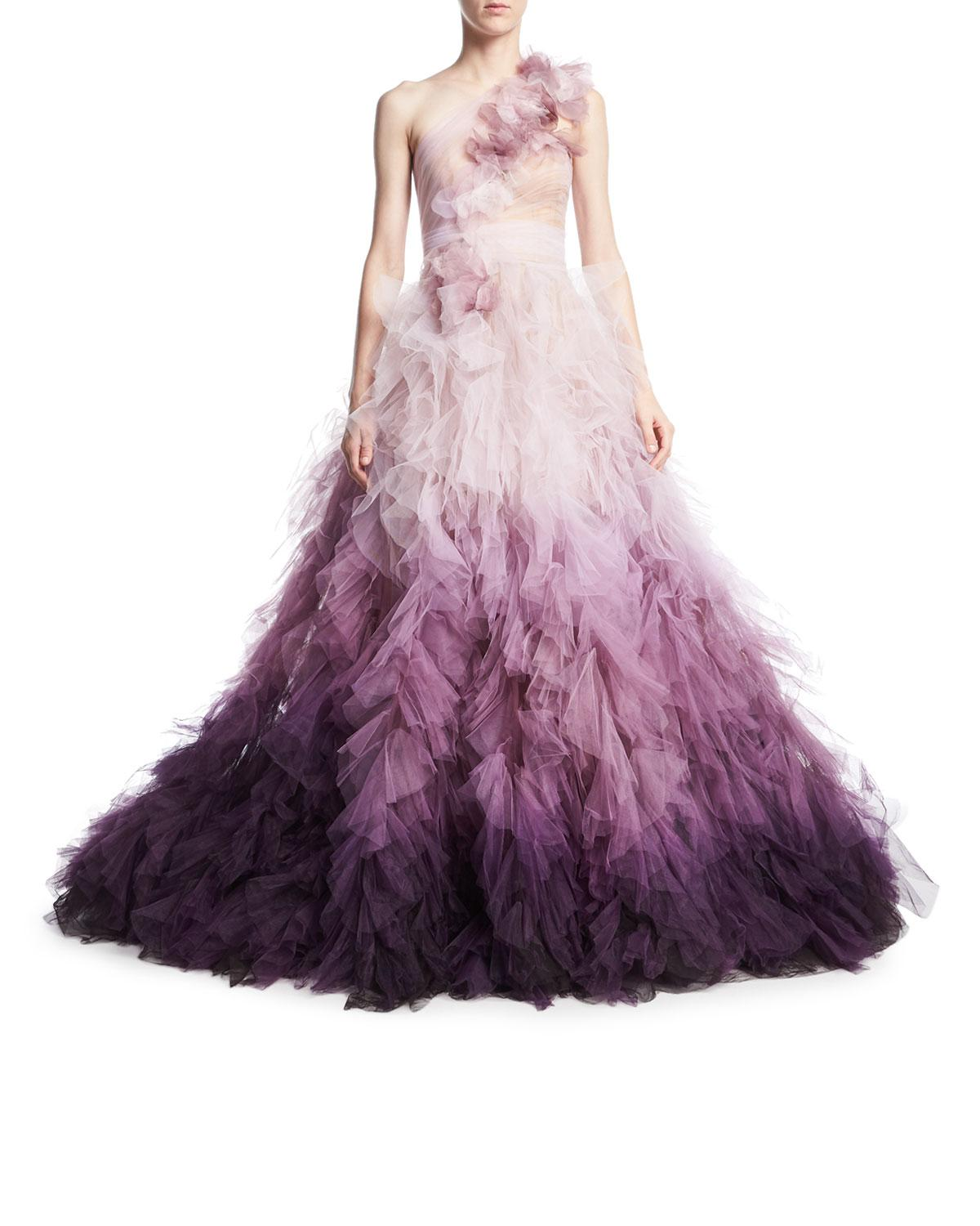 Lyst - Marchesa Ombre Tulle One-shoulder Ball Gown in Purple