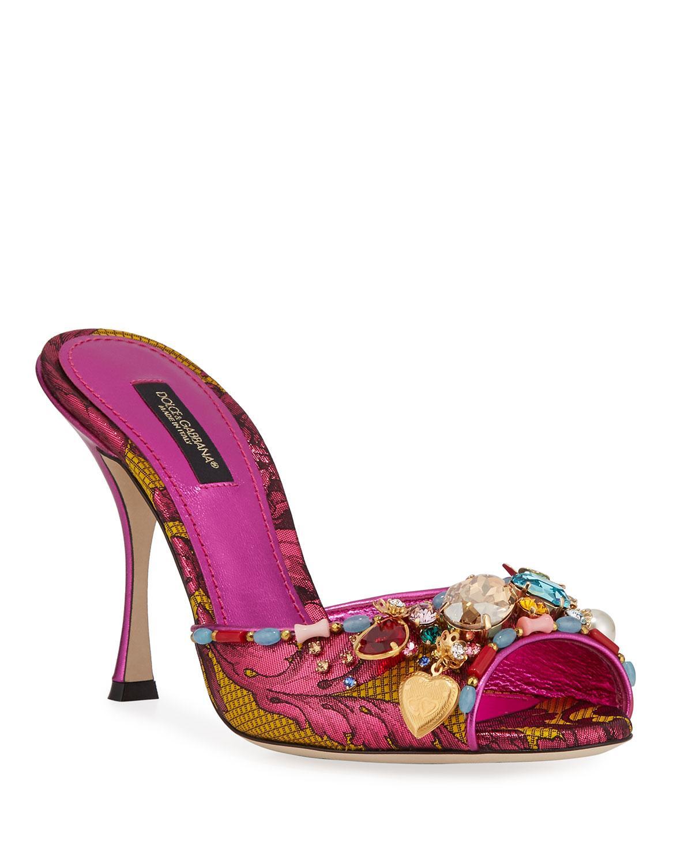 de5a2ff3f4b8 Lyst - Dolce   Gabbana Jeweled Brocade Mule Sandals in Pink
