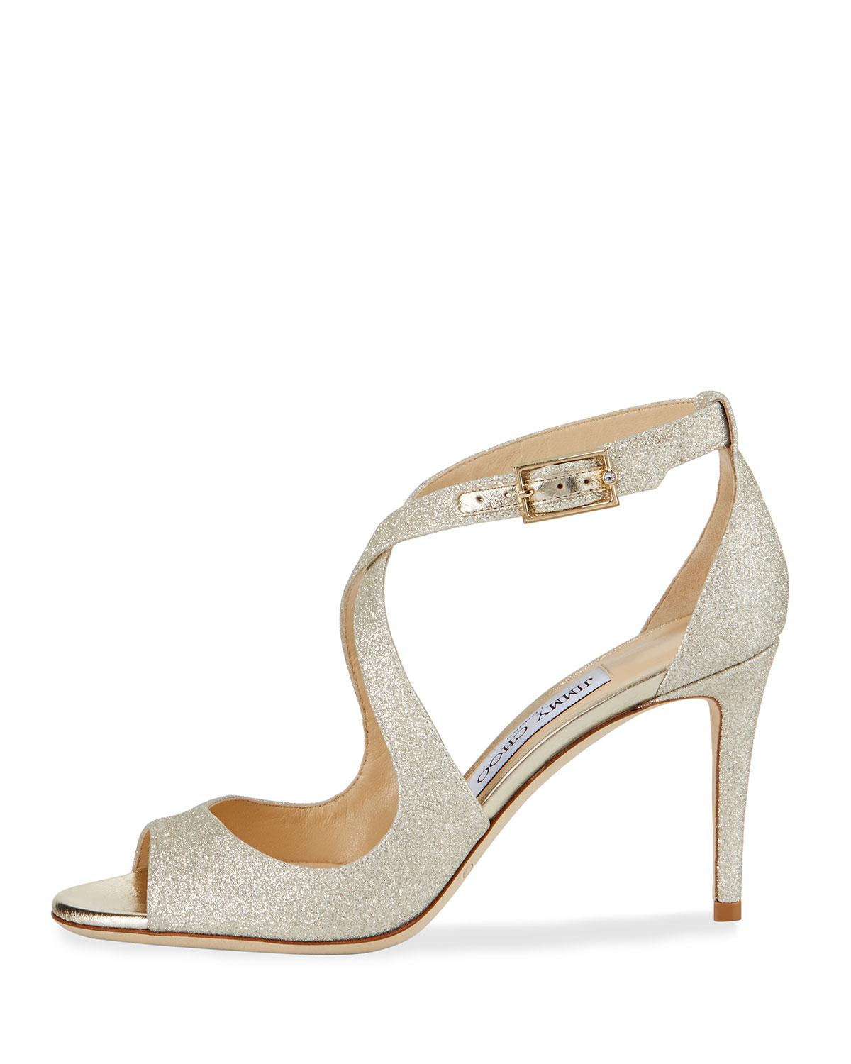 6a1f986512ec Jimmy Choo Emily Glitter Crisscross 85mm Sandals Gold in Metallic - Lyst