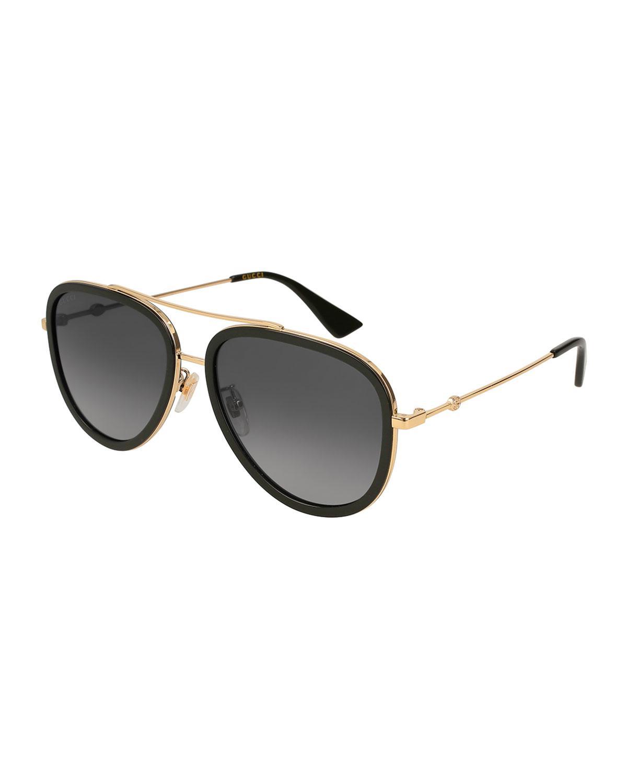 a3e31d84609 Gucci. Women s Metallic Metal   Acetate Gradient Aviator Sunglasses.  455  From Bergdorf Goodman