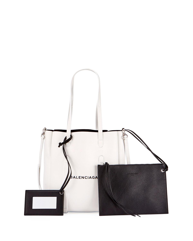 50e0e598c456 Lyst - Balenciaga Everyday Small Leather Logo Tote Bag in White