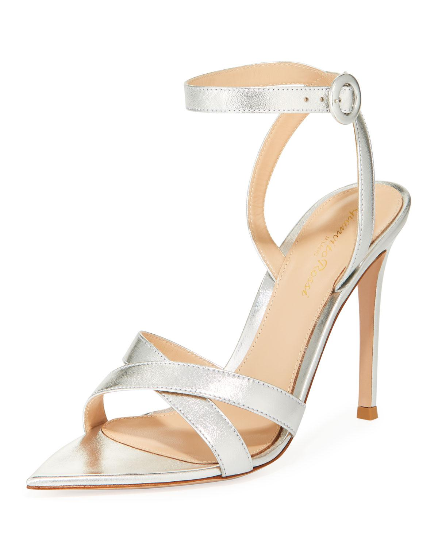 f1c344610 Lyst - Gianvito Rossi Metallic Crisscross Strappy Sandals in Gray