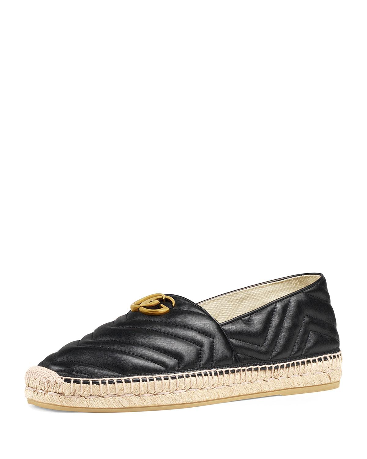 f282b9977 Gucci Men's Quilted Leather Espadrilles With Double G in Black - Lyst