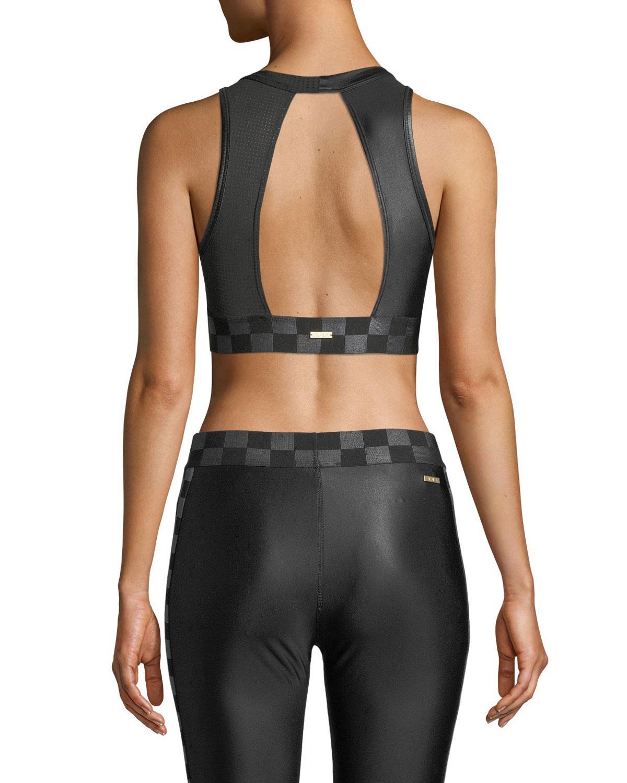 3e969d05369d0 Lyst - Alala Blocked Pyramid Shiny Jersey Mesh Combo High-impact Sports Bra  in Black