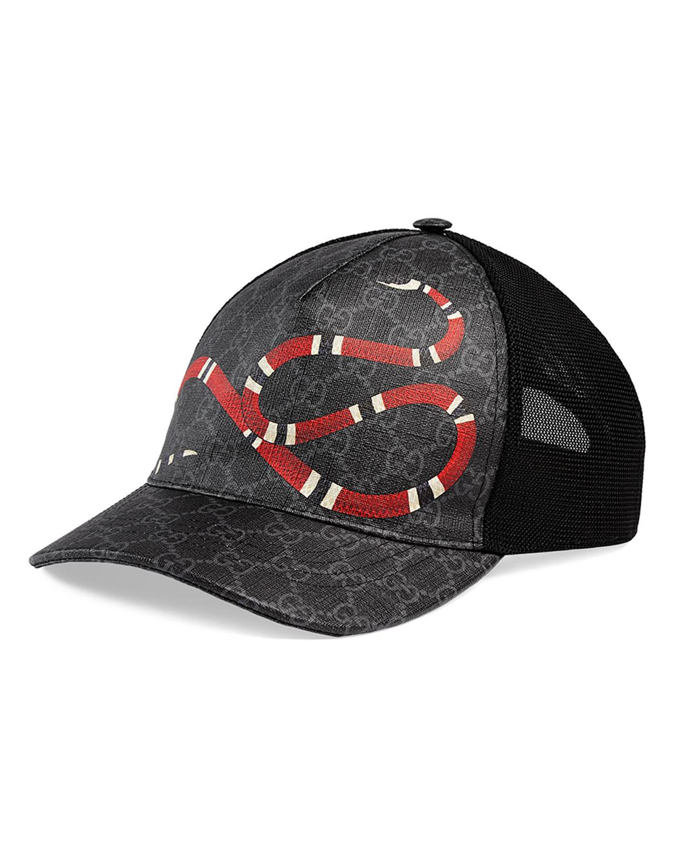 f8f6e82fc7f Lyst - Gucci Men s King Snake GG Supreme Baseball Cap in Black for ...