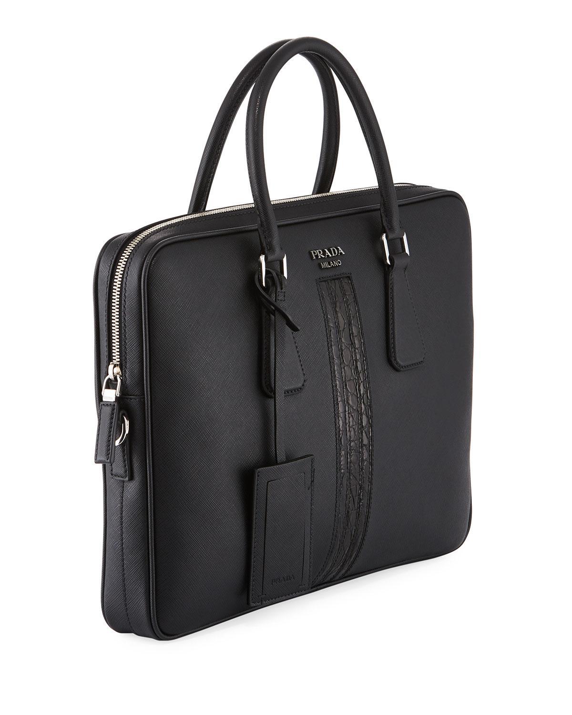 1bb355baf0b4 Prada Slim Saffiano Leather/crocodile Triangle Briefcase in Black - Lyst
