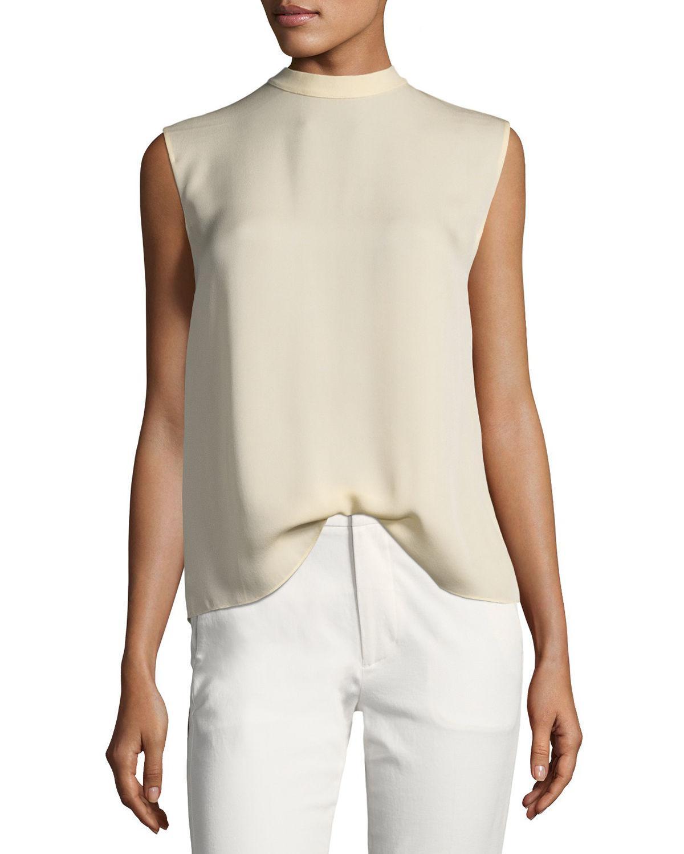597a6b186d434 Lyst - Vince Self-tie Sleeveless Silk Blouse