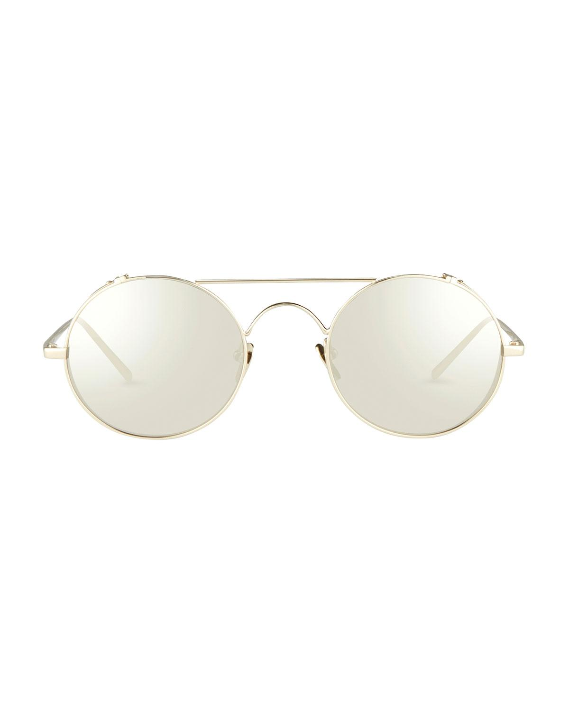 91d1fecccbd Lyst - Linda Farrow Round Brow-bar Sunglasses in Metallic