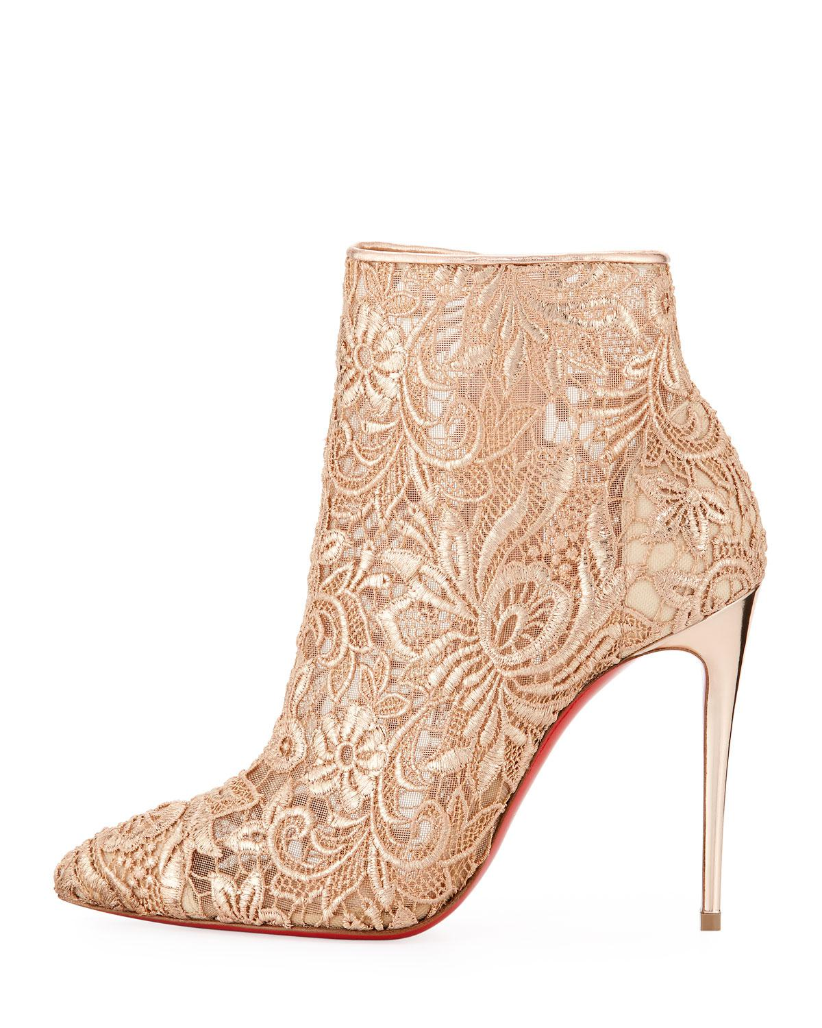 0733803600a Lyst - Christian Louboutin Gipsy Floral-lace Red Sole Bootie in Natural