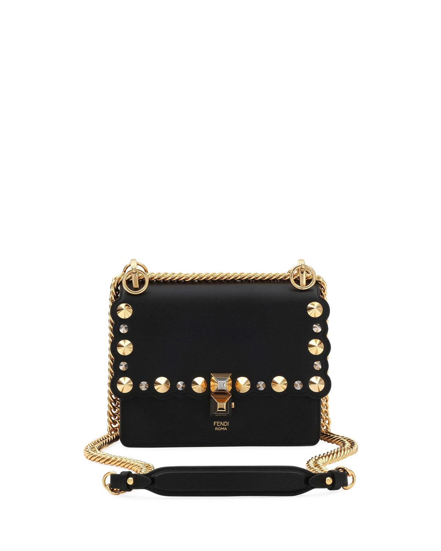 f4bb3be5a4 Lyst - Fendi Mini Kan I Studs Shoulder Bag in Black