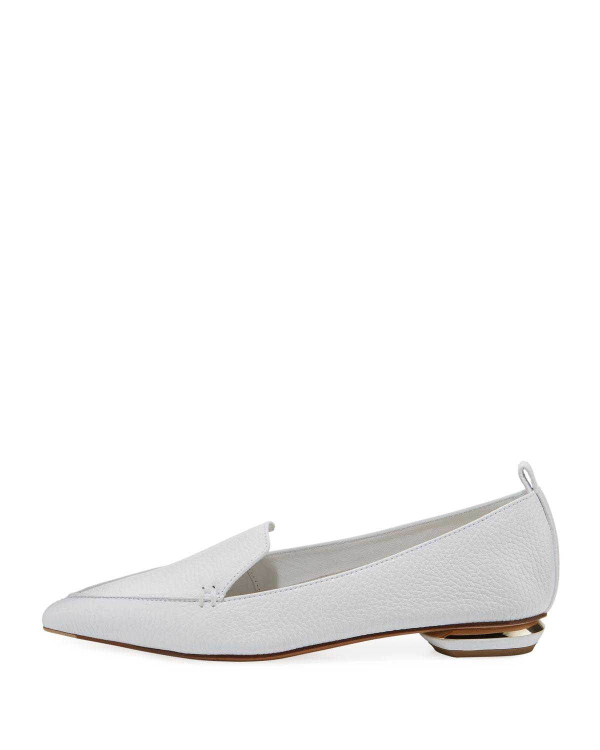 de9ff946d2c Lyst - Nicholas Kirkwood Beya Grained Leather Loafers in White - Save  66.56488549618321%