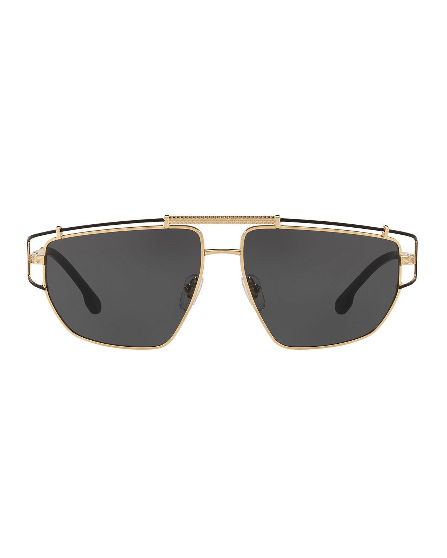 4879547834d Lyst - Versace Men s Wrap-style Aviator Sunglasses in Metallic for Men