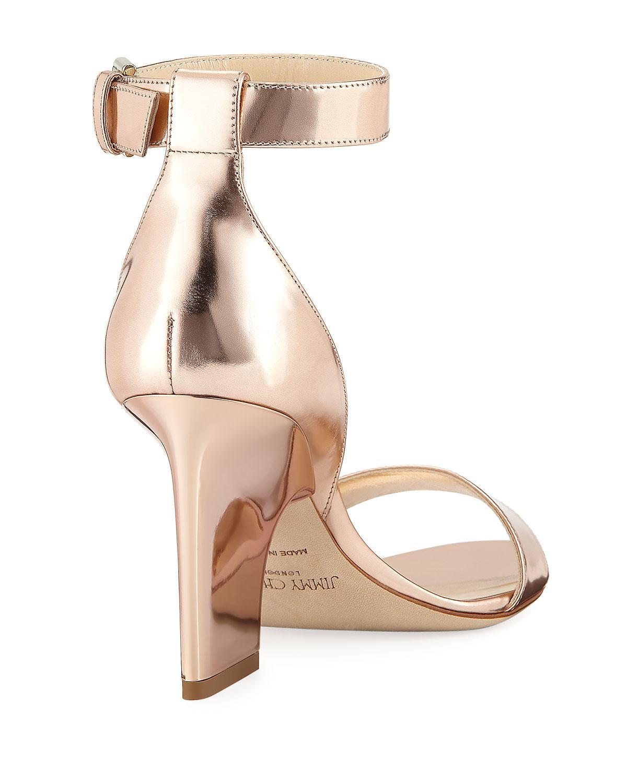 640759b6262a Lyst - Jimmy Choo Edina Metallic Block-heel Sandal
