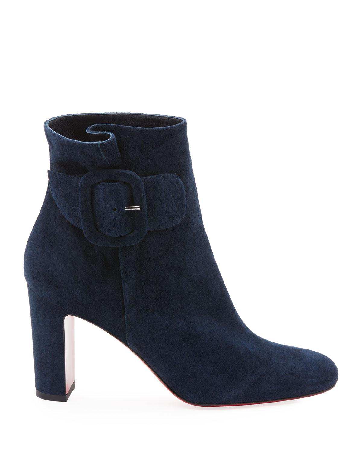 9a0309724f5b Lyst - Christian Louboutin Tres Olivia Suede Buckled Red Sole Booties in  Blue