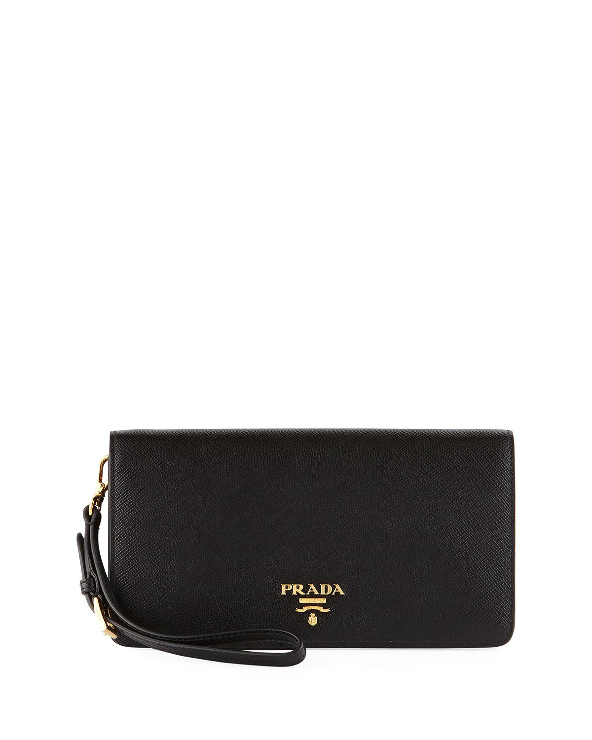 821dad759af0 Prada Saffiano Flap Phone Wristlet Wallet W/ Crossbody Strap in ...