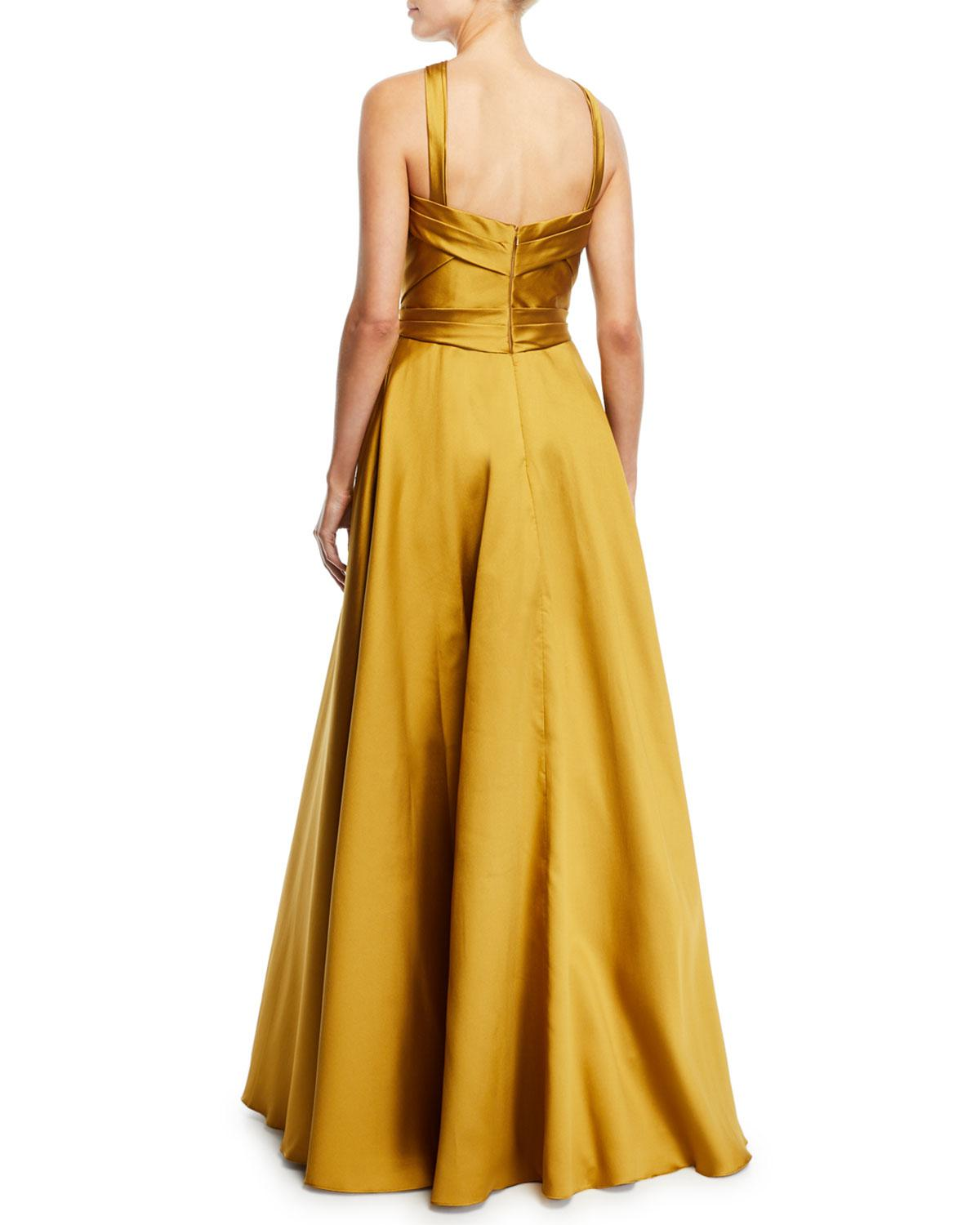 d8870936514e Marchesa notte Crisscross Halter Beaded Ball Gown in Metallic - Lyst