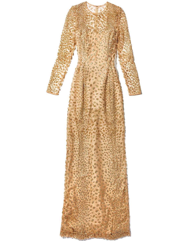 Lyst - Roland Nivelais Long-sleeve Leopard-embellished Tulle Evening ...