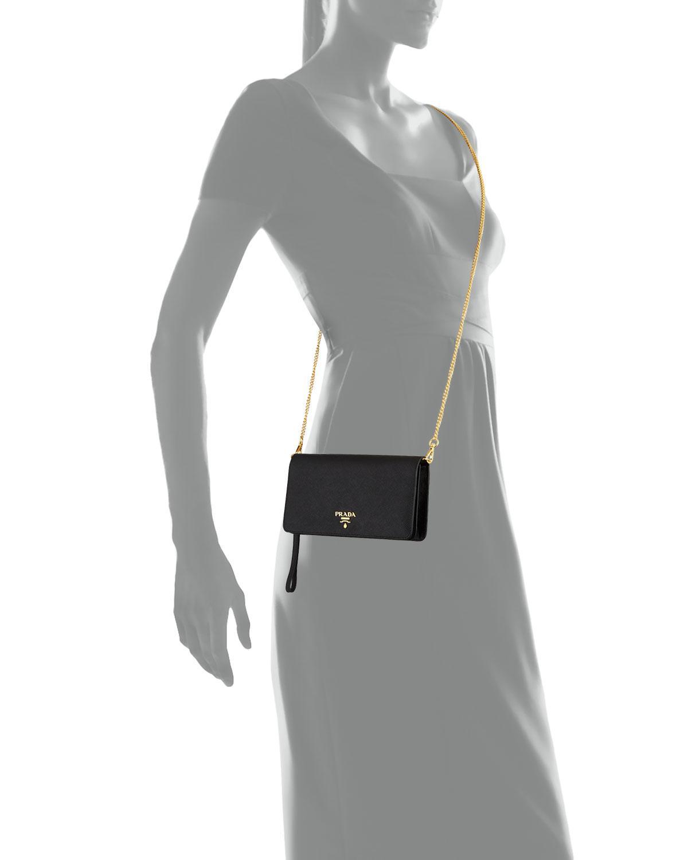 1e03615fc308 Prada Saffiano Flap Phone Wristlet Wallet W/ Crossbody Strap in ...