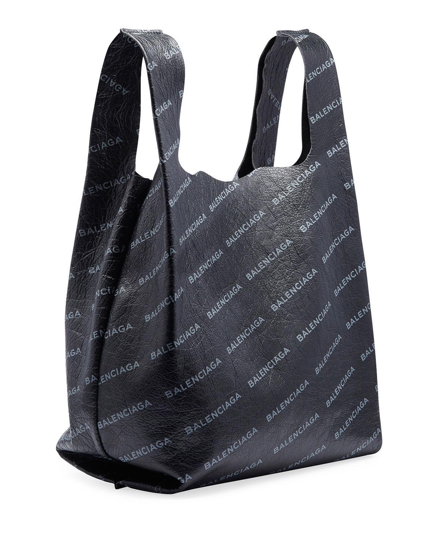 Lyst - Balenciaga Men s Allover Logo-print Leather Grocery Tote Bag in Gray 78e9cb1903e9d