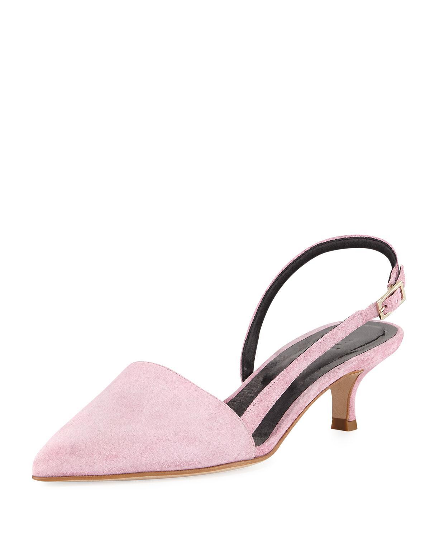 e16e1e3ad4f Lyst - Tibi Simon Suede Asymmetric Slingback Pumps in Pink