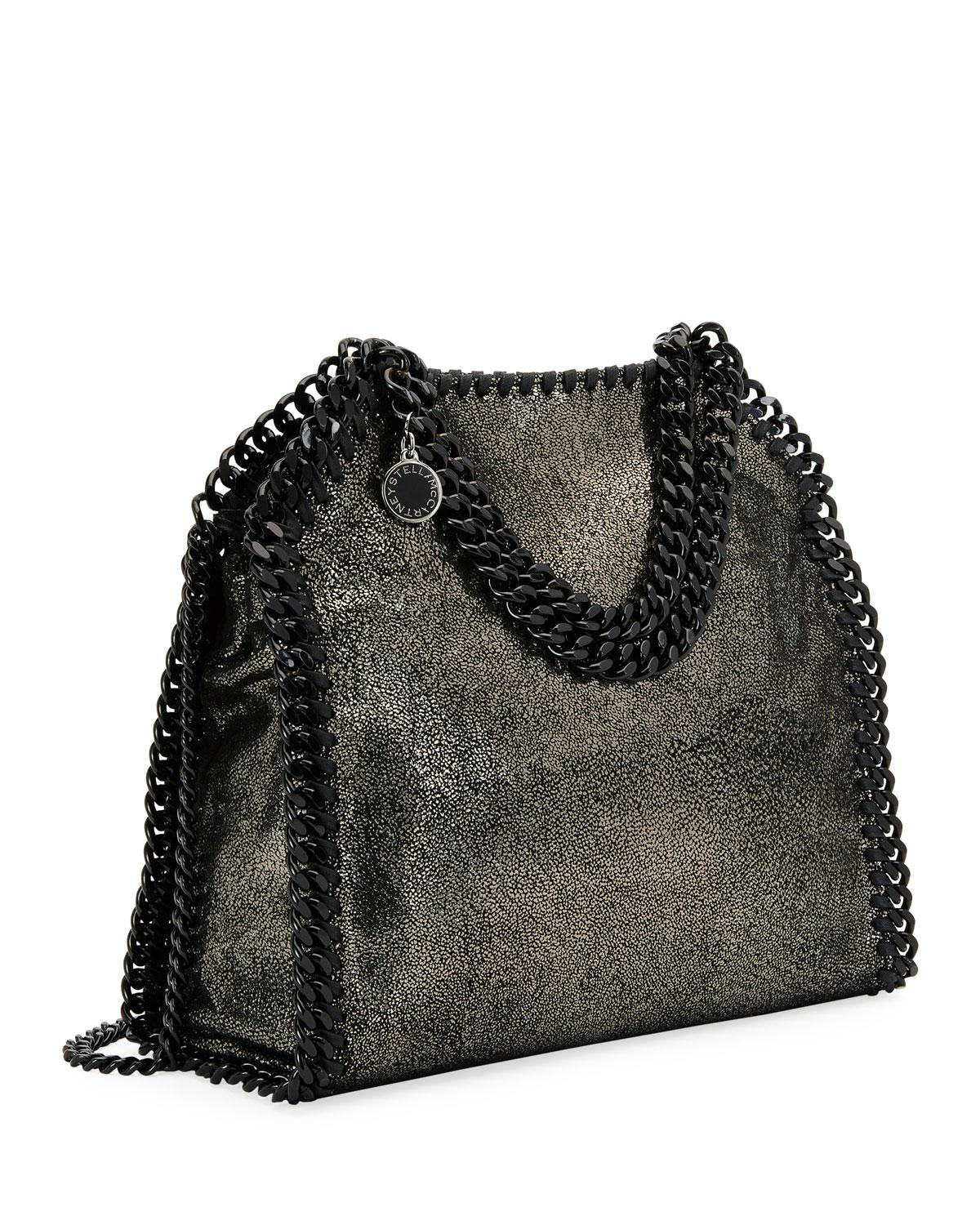 1bb857c2ad Lyst - Stella McCartney Falabella Tiny Metallic Dot Shoulder Bag - Black  Hardware in Gray